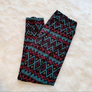 Lularoe leggings geometric pink blue black T & C